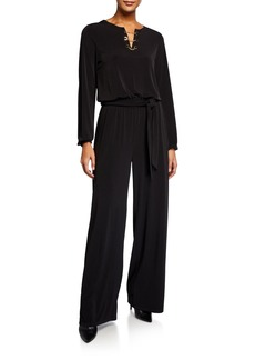 MICHAEL Michael Kors Chain-Neck Long-Sleeve Jumpsuit