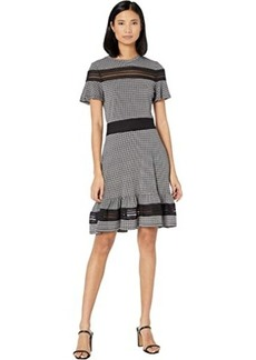 MICHAEL Michael Kors Cheeky Check Mix Short Sleeve Dress