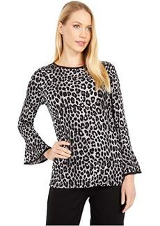 MICHAEL Michael Kors Cheetah Flutter Sleeve Top