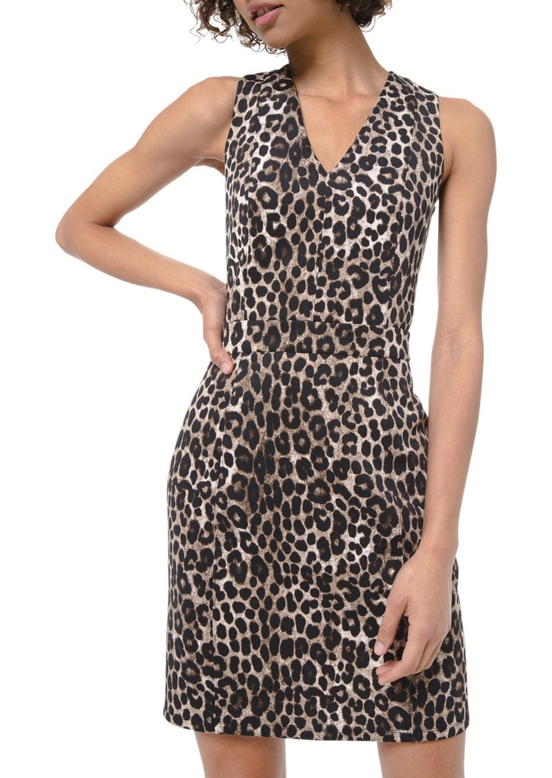 MICHAEL Michael Kors Cheetah Scuba V-Neck Sleeveless Mini Dress