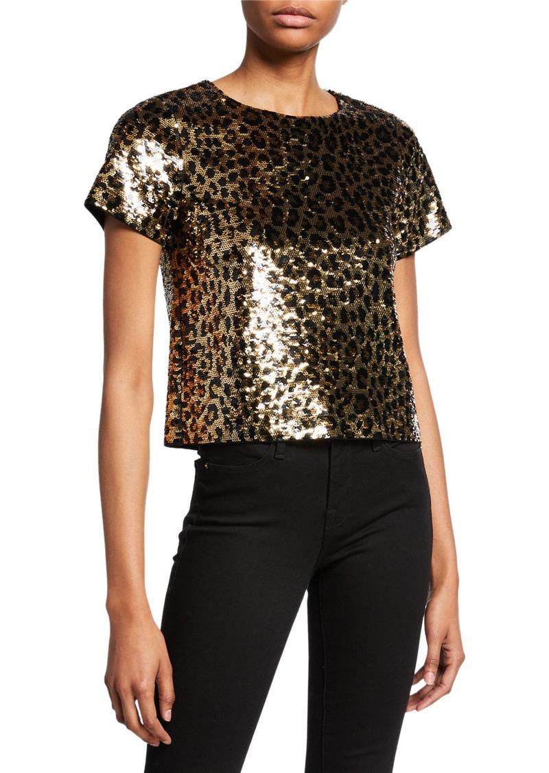 MICHAEL Michael Kors Cheetah Sequin Short-Sleeve Crop Top