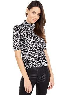 MICHAEL Michael Kors Cheetah Short Sleeve Turtleneck Top