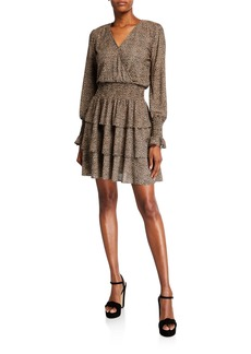 MICHAEL Michael Kors Cheetah Tiered Long-Sleeve Mini Dress