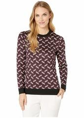 MICHAEL Michael Kors Chevron Jacquard Long Sleeve Sweater
