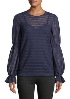 MICHAEL Michael Kors Cinched-Sleeve Crochet-Striped Top