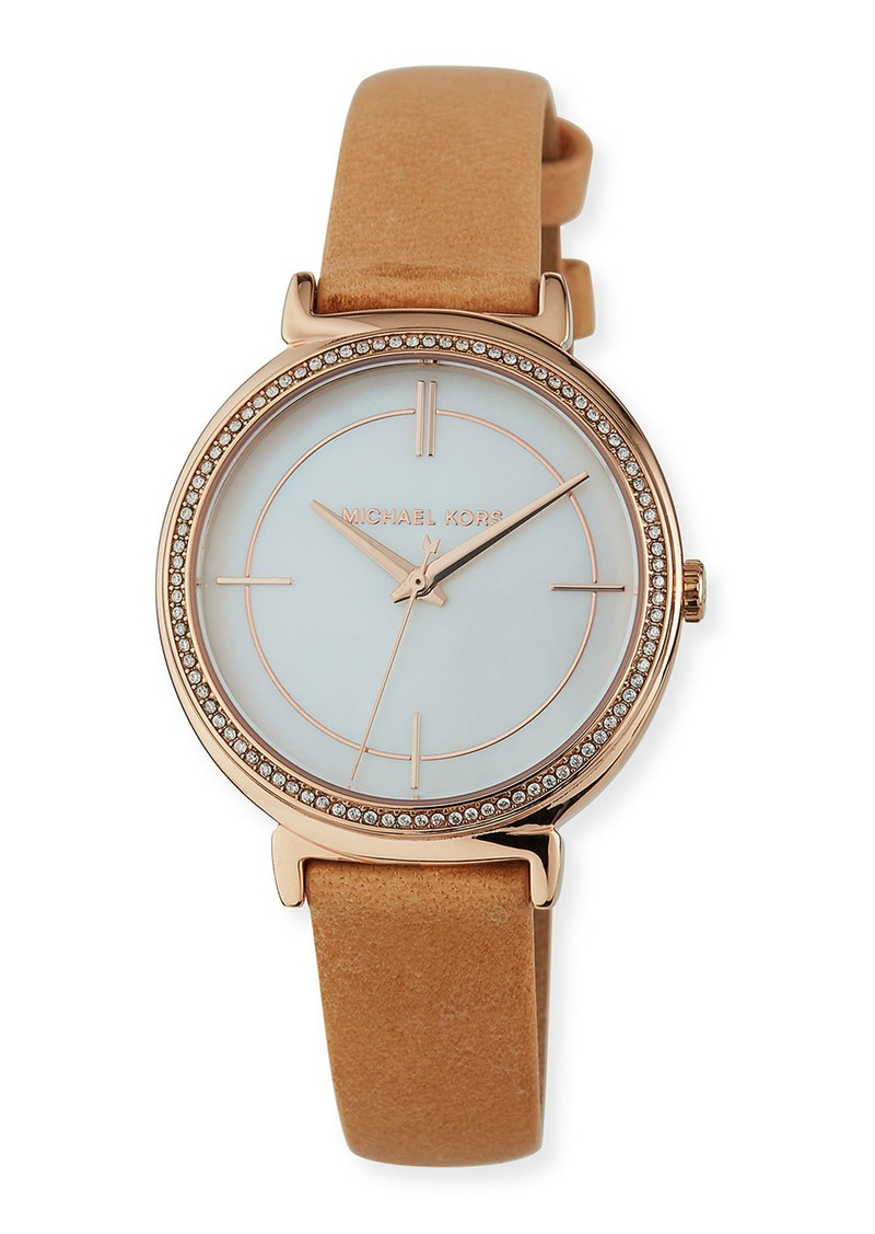 MICHAEL Michael Kors Cinthia 33mm Glitz Watch w/ Leather Strap