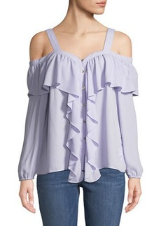MICHAEL Michael Kors Cold-Shoulder Chiffon Button-Front Chiffon Blouse