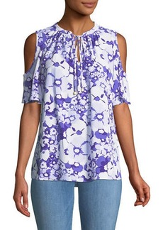MICHAEL Michael Kors Cold-Shoulder Floral-Print Tie-Neck Blouse