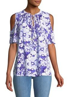 MICHAEL Michael Kors Cold-Shoulder Floral-Print Tie-Neck Blouse