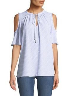MICHAEL Michael Kors Cold-Shoulder Flower-Crepe Blouse