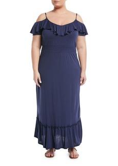 Cold-Shoulder Flutter-Sleeve Maxi Dress
