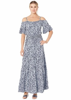 MICHAEL Michael Kors Cold Shoulder Ikat Maxi Dress