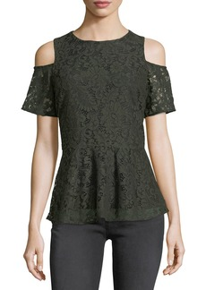 MICHAEL Michael Kors Cold-Shoulder Lace Peplum Blouse