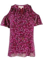 MICHAEL Michael Kors cold shoulder printed top