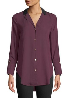 MICHAEL Michael Kors Colorblocked Chiffon Button-Front Blouse