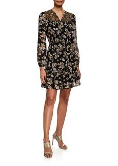MICHAEL Michael Kors Combo Bib Fleur Long-Sleeve Mini Dress