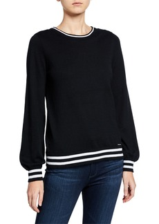 MICHAEL Michael Kors Contrast Striped Pullover Cotton Sweater