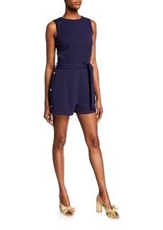 MICHAEL Michael Kors Crewneck Sleeveless Side-Snap Romper