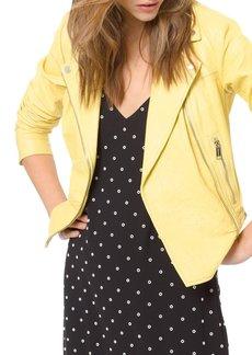 MICHAEL Michael Kors Crinkle Zip-Front Lambskin Leather Moto Jacket