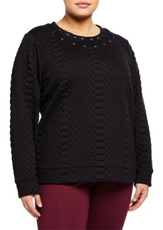 MICHAEL Michael Kors Croc-Embossed Lacing Sweatshirt  Plus Size