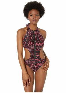 MICHAEL Michael Kors Cut Out High Neck Zipper Front One-Piece with Removable Soft Cups