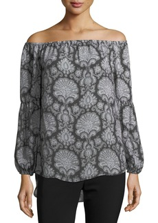 MICHAEL Michael Kors Damask-Print Off-the-Shoulder Top