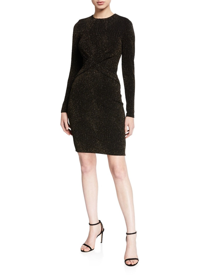 MICHAEL Michael Kors Diamond Metallic Long-Sleeve Twist Dress