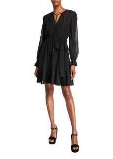 MICHAEL Michael Kors Dotted Tassel-Tie Long-Sleeve Pleated Dress with Belt