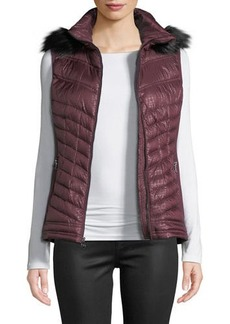 MICHAEL Michael Kors Down Fill Puffer Vest with Faux-Fur Trim