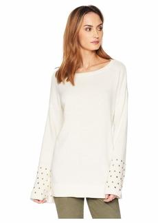 MICHAEL Michael Kors Drop Shoulder Stud Sleeve Sweater