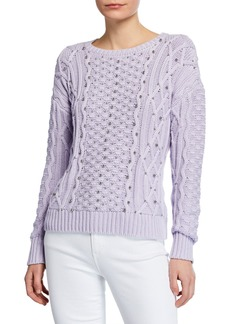 MICHAEL Michael Kors Embellished Cable-Knit Sweater