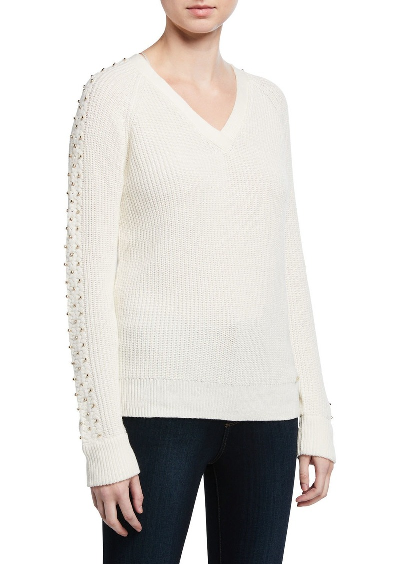 MICHAEL Michael Kors Embellished Cable Sweater