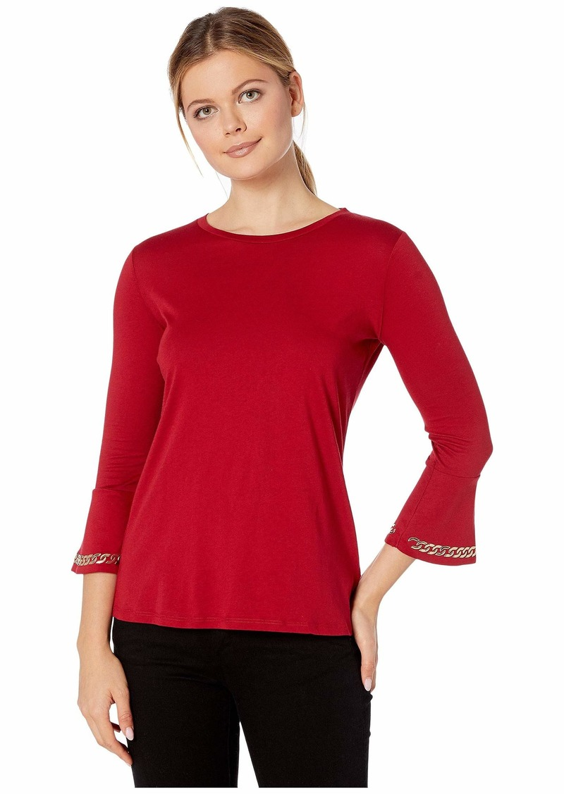 MICHAEL Michael Kors Embroidered Chain 3/4 Sleeve Top