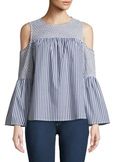 MICHAEL Michael Kors Eyelet-Embroidered Striped Cold-Shoulder Blouse