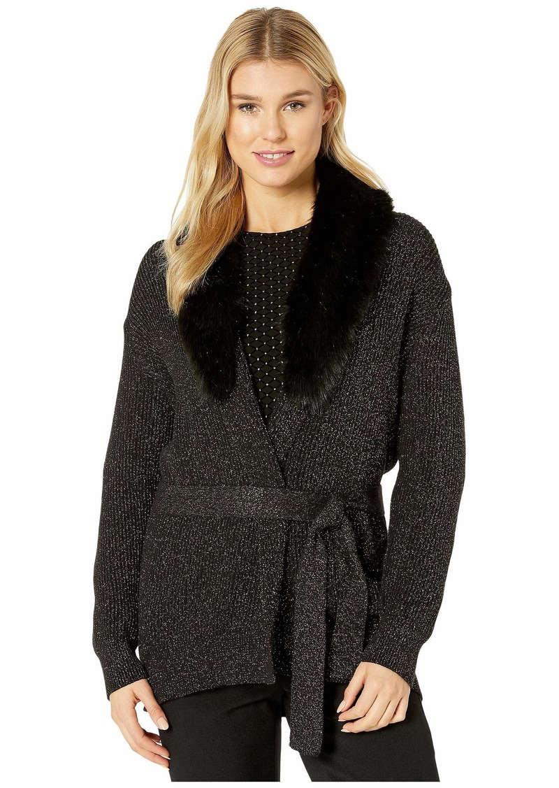 MICHAEL Michael Kors Faux Fur Collar Trim Cardigan