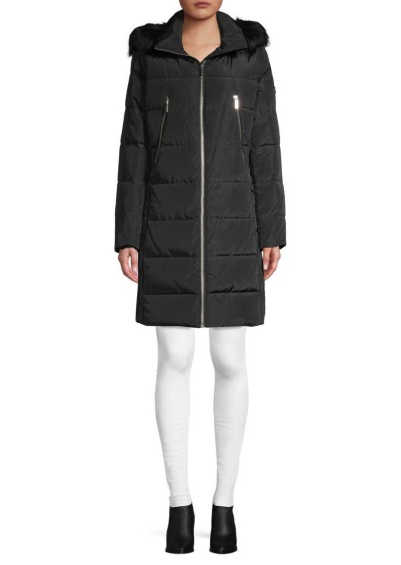 MICHAEL Michael Kors Faux Fur-Trim Down Puffer Coat