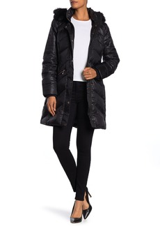 MICHAEL Michael Kors Faux Fur Trim Midweight Puffer Coat