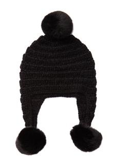 MICHAEL Michael Kors Faux Fur Trimmed Crochet Trapper Hat