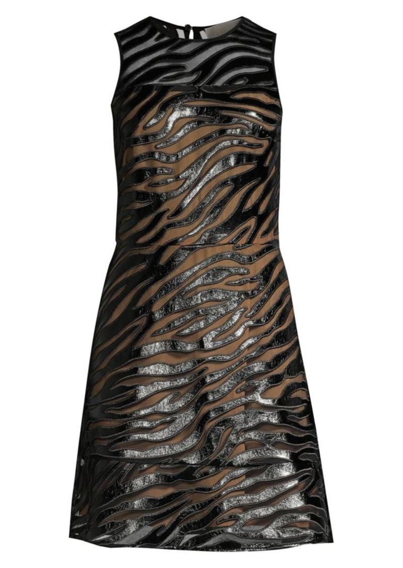 MICHAEL Michael Kors Faux Leather Tiger Stripe A-Line Dress