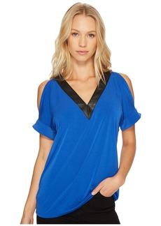 MICHAEL Michael Kors Faux Leather V-Neck Cold Shoulder