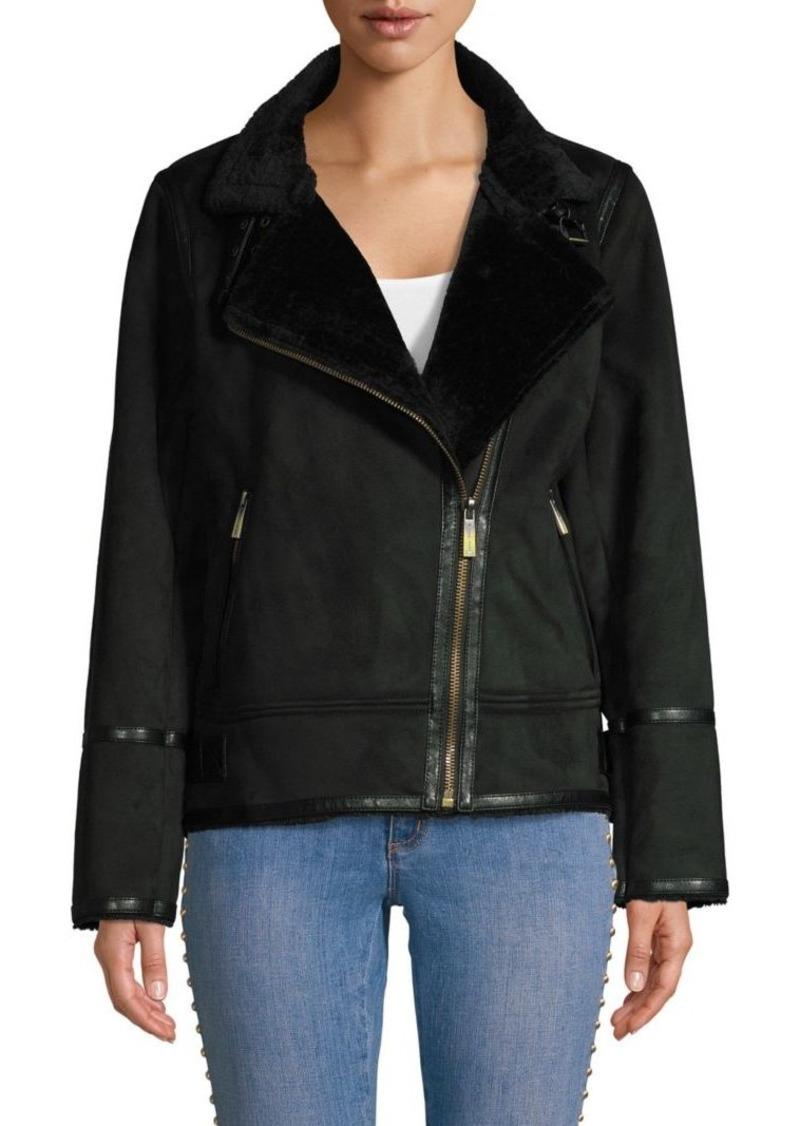 MICHAEL Michael Kors Faux Shearling Asymmetrical Moto Jacket