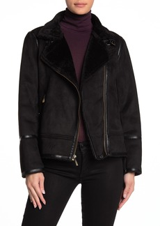 MICHAEL Michael Kors Faux Shearling Notch Collar Jacket