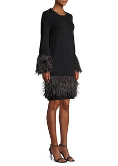MICHAEL Michael Kors Feather Trim Sweater Dress