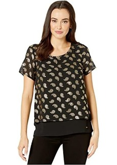 MICHAEL Michael Kors Floating Foil Cut Out Back Top