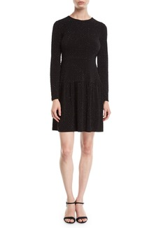 MICHAEL Michael Kors Flocked Long-Sleeve Dress with Shirred Skirt