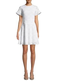 MICHAEL Michael Kors Floral-Applique Puff-Sleeve Mini Dress