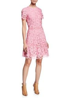 MICHAEL Michael Kors Floral-Lace Crewneck Short-Sleeve Fit-and-Flare Dress