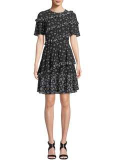 MICHAEL Michael Kors Floral-Print Jewel-Neck Short-Sleeve Ruffle Dress