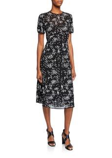 MICHAEL Michael Kors Floral Sequins Crewneck Short-Sleeve Dress