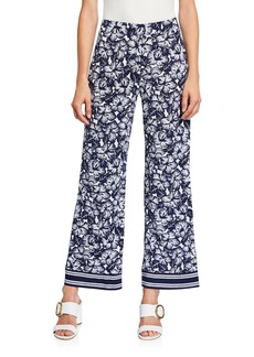 MICHAEL Michael Kors Floral Wide-Leg Border Pants